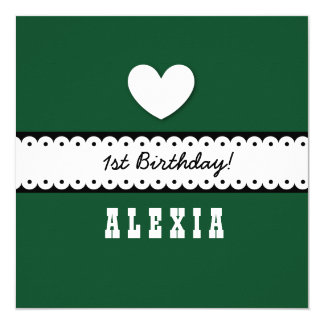 "1st Birthday Baby Heart Scalloped Ribbon Green G1Z 5.25"" Square Invitation Card"