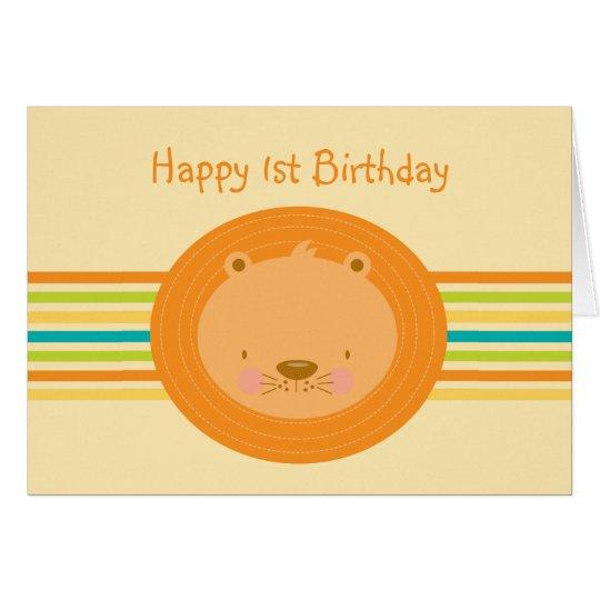 1st Birthday Baby Lion Card