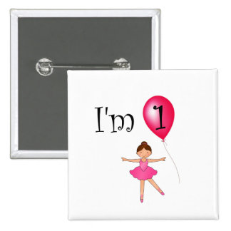 1st Birthday ballerina red balloon Pinback Button