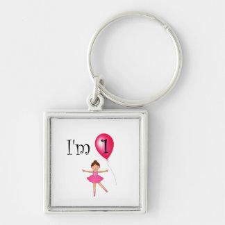 1st Birthday ballerina red balloon Keychains