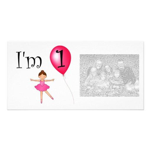 1st Birthday ballerina red balloon Photo Greeting Card