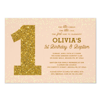 1st Birthday Baptism Invitation Peach Gold Coral