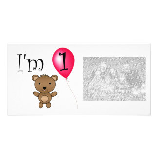 1st Birthday bear red balloon Picture Card