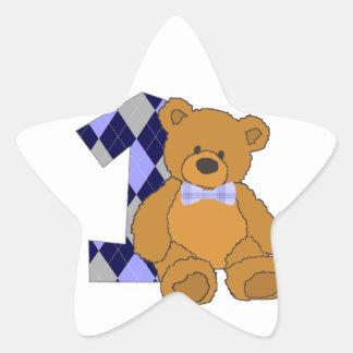 1st Birthday Bear Star Sticker