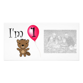 1st Birthday beaver red balloon Photo Greeting Card