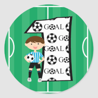 1st Birthday Blue and White Soccer Goal Stickers