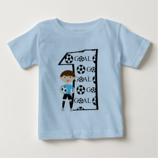 1st Birthday Blue and White Soccer Goal T-Shirt