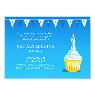 1st Birthday Blue Cupcake Party - Baby Boy 11 Cm X 16 Cm Invitation Card
