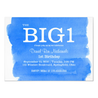 1st Birthday Blue Little Boy's Watercolor Wash Card