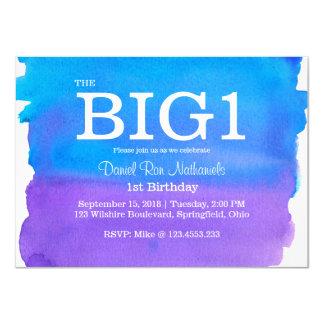 1st Birthday Blue & Purple Watercolor effect 11 Cm X 16 Cm Invitation Card