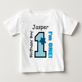1st Birthday Boy BLUE One Year Custom Name A03 Baby T-Shirt