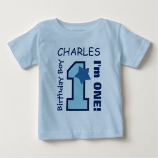 1st Birthday Boy BLUE One Year Custom Name A07E4 Baby T-Shirt