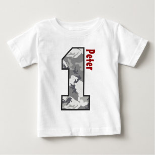 1st Birthday Boy Camo One Year Custom Name V007A4 Baby T-Shirt
