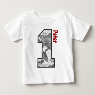 1st Birthday Boy Camo One Year Custom Name V007A4 Baby T-Shirt