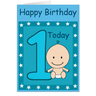 1st Birthday Boy Custom Card