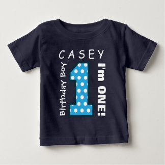 1st Birthday Boy One Year Blue Polka Dots V01G Baby T-Shirt