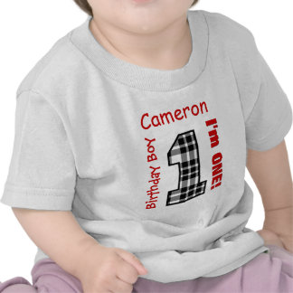 1st Birthday Boy PLAID 1 Year Custom Name V12B T-shirt