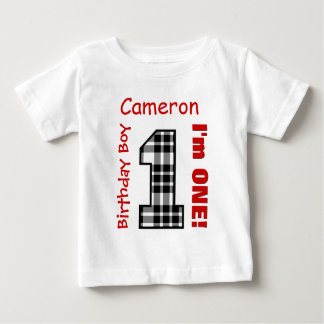 1st Birthday Boy PLAID 1 Year Custom Name V12B T Shirts