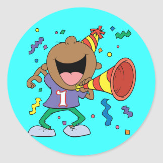 1st Birthday Boy Round Sticker