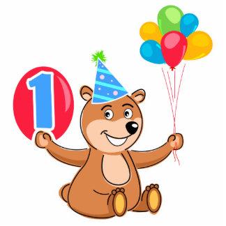 1st Birthday Brown Bear Balloons Standing Photo Sculpture
