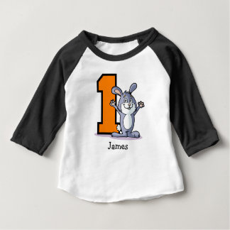 1st Birthday Bunny Custom Baby T-Shirt