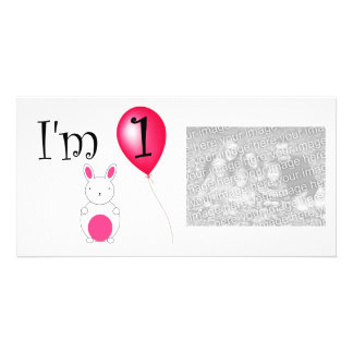 1st Birthday bunny red balloon Personalized Photo Card