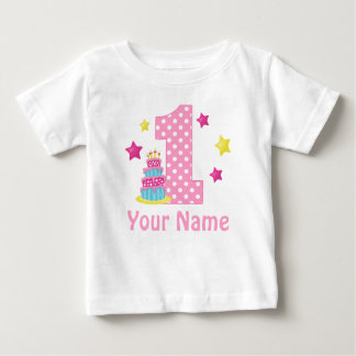 1st Birthday cake Pink Personalized T-shirt