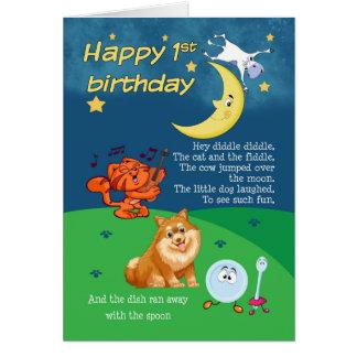 1st Birthday Card, 1st Birthday Hey Diddle Diddle Card