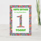 1st Birthday Card for a Grandson Bright and Bubbly