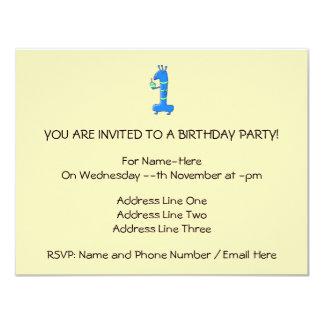 1st birthday cartoon, in blue and green. 11 cm x 14 cm invitation card