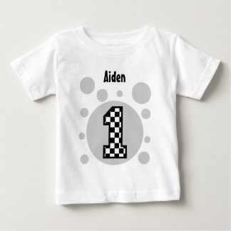 1st Birthday Checkers and Bubbles One Year Old V22 Baby T-Shirt