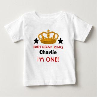 1st Birthday Custom Name Crown and Stars W03B Baby T-Shirt