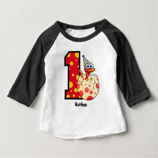 1st Birthday Dino Egg  Custom Baby T-Shirt