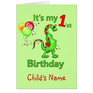 1st Birthday Dinosaur Card