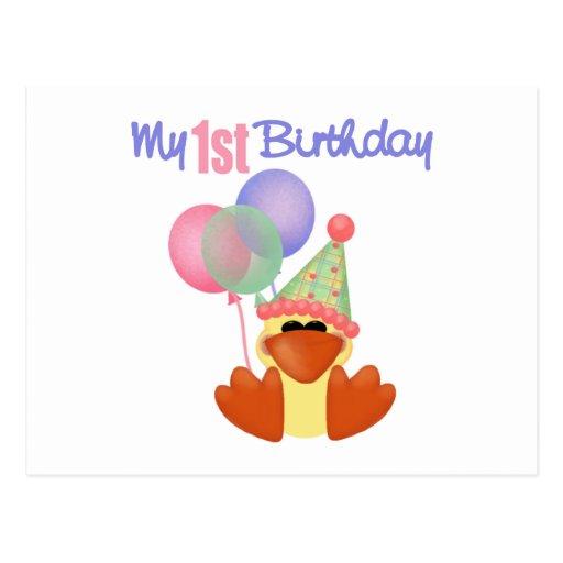 1st Birthday Duck Birthday Postcard
