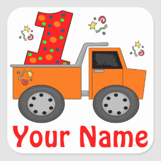 1st Birthday Dump Truck Personalized Sticker