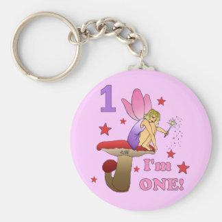 1st Birthday Fairy Basic Round Button Key Ring