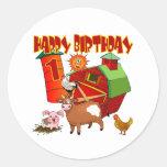 1st Birthday Farm Birthday Round Stickers