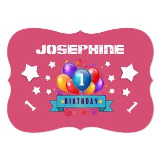 "1st Birthday Festive Balloons and Stars B101 5"" X 7"" Invitation Card"