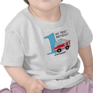 1st Birthday Fire Truck Blue Red T-shirt