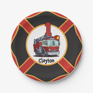 1st Birthday Fire Truck Paper Plate