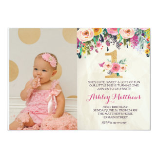 1ST birthday FIRST Beautiful Floral Invitation, 13 Cm X 18 Cm Invitation Card