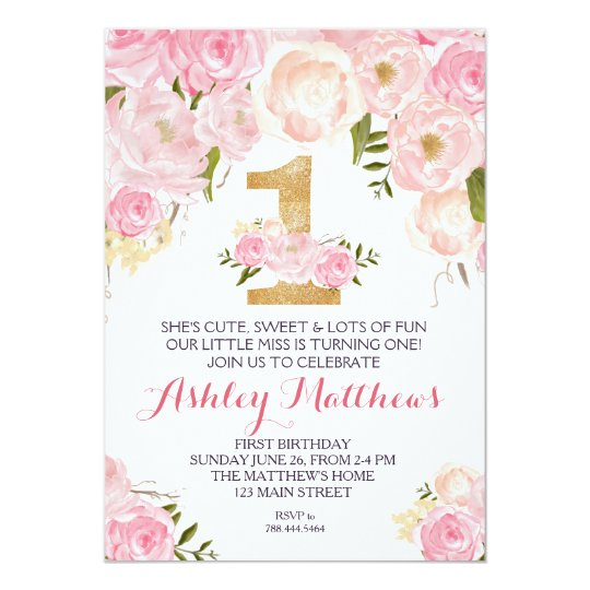1st Birthday First Beautiful Floral Invitation Card