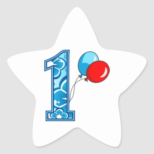 1st Birthday Floral and Balloons Sticker