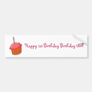 1st Birthday Girl Art Bumper Sticker