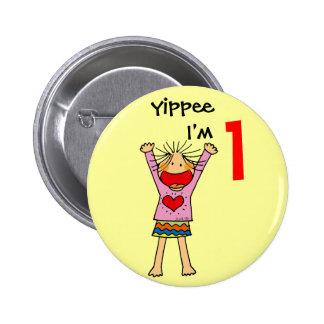 1st birthday girl pinback button