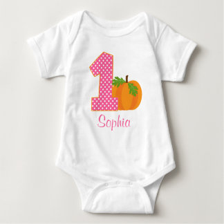 1st Birthday Girl Fall Pumpkin Personalized Baby Bodysuit
