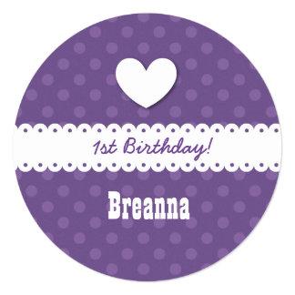 1st Birthday Girl Heart and Scalloped Ribbon B01B8 Announcement