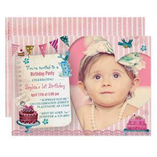 1st Birthday Girl Heart | Photo Party Invitation