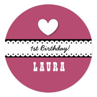 1st Birthday Girl Heart Scalloped Ribbon A11AZ 13 Cm X 13 Cm Square Invitation Card